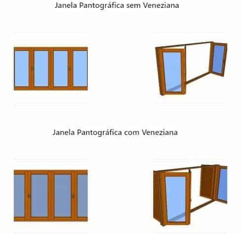 Janelas Pantográficas de Madeira - Esquadrias